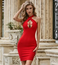 Red Backless Cut Out Mini Sleeveless Halter Bandage Dress PZC510-Red