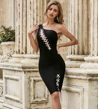 Black Tie Asymmetrical Midi Sleeveless One Shoulder Bandage Dress PZC517-Black