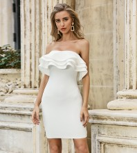 White Backless Frill Mini Sleeveless Strapless Bandage Dress PZC529-White