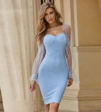Blue Backless Mesh Midi Long Sleeve Square Collar Bandage Dress PZC549-Blue