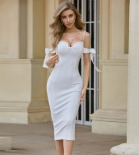 White Backless Tie Over Knee Short Sleeve Strappy Bandage Dress PZC553-White