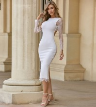 White Hollow out Lace Over Knee Long Sleeve Round Neck Bandage Dress PZC556-White