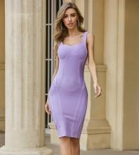 Purple Backless Striped Midi Sleeveless Strappy Bandage Dress PZC562-Purple