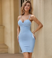 Blue Mesh Striped Mini Sleeveless Strappy Bandage Dress PZC567-Blue