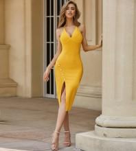 Yellow Backless Slit Over Knee Sleeveless Halter Bandage Dress PZC575-Yellow
