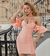 Peach Wrinkled Frill Mini Short Sleeve Off Shoulder Bandage Dress PZC615-Peach