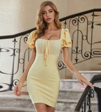 Yellow Wrinkled Tie Mini Short Sleeve Square Collar Bandage Dress PZC619-Yellow