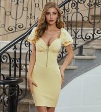 Yellow Striped Frill Mini Short Sleeve Square Collar Bandage Dress PZC625-Yellow