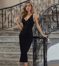 Black Slit Striped Over Knee Sleeveless Strappy Bandage Dress PZC626-Black