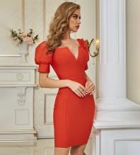 Red  Plain Mini Short Sleeve V Neck Bandage Dress PZC646-Red