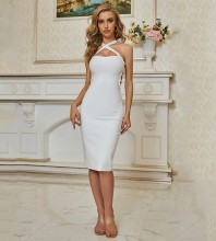 White Backless Tie Midi Sleeveless Strappy Bandage Dress PZC653-White