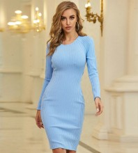Blue Backless Striped Midi Long Sleeve Round Neck Bandage Dress PZC677-Blue