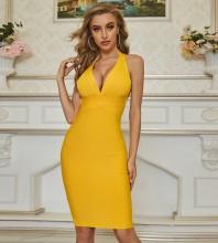 Yellow Backless Striped Mini Sleeveless Halter Bandage Dress PZC679-Yellow