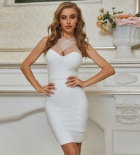 White Backless Mesh Mini Sleeveless Strappy Bandage Dress PZC681-White