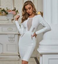 White  Mesh Midi Long Sleeve Round Neck Bandage Dress PZC683-White
