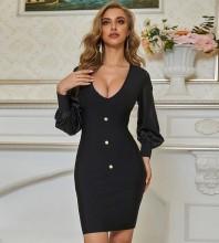 Black  Plain Mini Long Sleeve V Neck Bandage Dress PZC693-Black