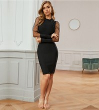 Black Distinctive Mesh Midi Long Sleeve Round Neck Bandage Dress PZC703-Black