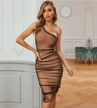 Brown Wrinkled Tulle Midi Sleeveless One Shoulder Bandage Dress PZC712-Brown