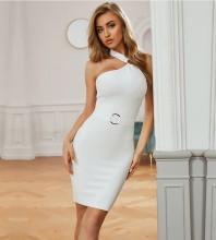 White Backless Metal Studded Mini Sleeveless Halter Bandage Dress PZC722-White