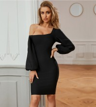 Black Plain Asymmetrical Midi Long Sleeve One Shoulder Bandage Dress PZC723-Black
