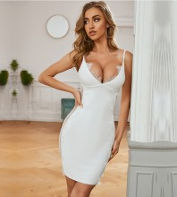 White Mesh Frill Mini Sleeveless Strappy Bandage Dress PZC725-White
