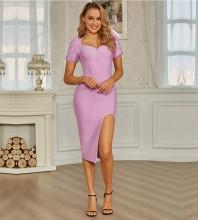 Pink Slit Wrinkled Over Knee Short Sleeve Square Collar Bandage Dress PZC731-Pink