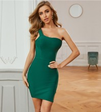Green Slit Asymmetrical Mini Sleeveless One Shoulder Bandage Dress PZC749-Green