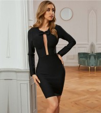 Black Bowknot Cut Out Mini Long Sleeve Round Neck Bandage Dress PZC750-Black