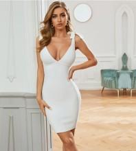 White Backless Tie Mini Sleeveless Strappy Bandage Dress PZC753-White
