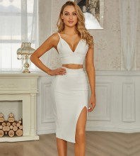 White Strappy Sleeveless  Slit Backless Bandage Set PZC759-White