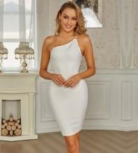 White Backless Chain Mini Sleeveless Halter Bandage Dress PZC765-White
