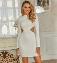 White High Neck Long Sleeve Mini Hollow out Exposed Waist Bandage Dress PZC768-White