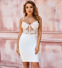 White Backless Lace Mini Sleeveless Strappy Bandage Dress PZC820-White