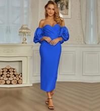 Royal Blue Backless Frill Midi Long Sleeve Off Shoulder Bandage Dress PZC831-Royal-Blue
