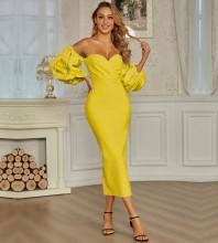 Yellow Backless Frill Midi Long Sleeve Off Shoulder Bandage Dress PZC831-Yellow