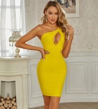 Yellow Cut Out Asymmetrical Mini Sleeveless One Shoulder Bandage Dress PZC833-Yellow