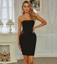 Black Backless Mesh Mini Sleeveless Strapless Bandage Dress PZC835-Black