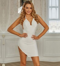 White Backless Chain Mini Sleeveless Halter Bandage Dress PZC838-White