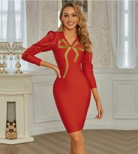 Red Distinctive Patterned Midi Long Sleeve V Neck Bandage Dress PZC920-Red