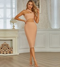 Brown Cut Out Asymmetrical Over Knee Sleeveless Strappy Bandage Dress PZC925-Brown