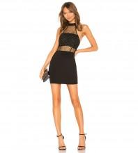 Black Mesh Rhinestone Mini Sleeveless High Neck Bandage Dress PZC953-Black