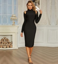 Black Backless Cut Out Over Knee Long Sleeve High Neck Bandage Dress PZC959-Black