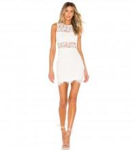 White Frill Lace Mini Sleeveless Round Neck Bandage Dress PZC963-White