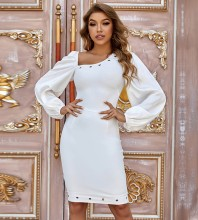 White Asymmetrical Metal Studded Midi Long Sleeve Square Collar Bandage Dress PZC969-White