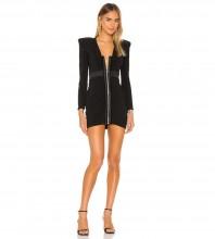 Black Zipper Wrinkled Mini Long Sleeve V Neck Bandage Dress PZC971-Black