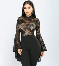 Black Horn Cuffs Lace Long Sleeve High Neck Bandage Dress PZC997-Black