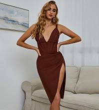 Dark Brown Striped Frill Midi Sleeveless Strappy Bandage Dress PZH0139-Dark-Brown