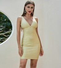 Gold Backless Striped Mini Sleeveless V Neck Bandage Dress PZL184-Gold