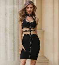 Black Exposed Waist Cut Out Mini Sleeveless Strappy Bandage Dress PZL2397-Black