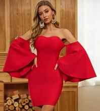 Red Distinctive Frill Mini Long Sleeve Off Shoulder Bandage Dress PZL2400-Red